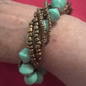 Awesome turquoise and gold beaded bracelet
